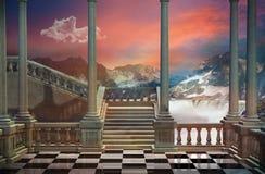 Fantastyczny balkon i krajobraz Obrazy Royalty Free