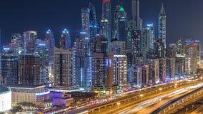 Fantastyczny dachu linia horyzontu Dubaj marina timelapse zbiory