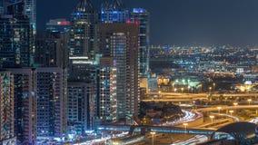 Fantastyczny dachu linia horyzontu Dubaj marina timelapse zbiory wideo