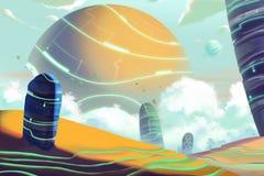 Fantastyczny i Egzotyczny Allen Planetuje środowisko i krajobraz royalty ilustracja