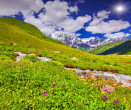 Fantastyczny krajobraz z rzeką w górach Zdjęcia Stock