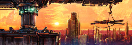 Fantastyczny miasto przyszłość Obrazy Stock
