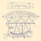 Fantastyczny plan latanie statek i tytułu sztandar z słowa niebem Wysyłamy, wręczamy, patroszoną kreskowej sztuki wektoru ilustra Zdjęcia Stock
