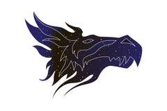 Fantastyczny smok stylizująca głowa Wektor kreskowa magiczna zwierzęca ilustracja, nocne niebo koloru sylwetka odizolowywająca na royalty ilustracja