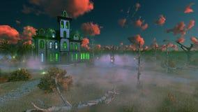 Fantastyczny straszny dwór przy mglistym półmrokiem ilustracja wektor