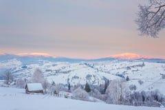 Fantastyczny wieczór zimy krajobraz Obraz Royalty Free