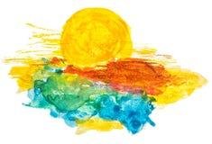 fantastyczny wytapiania 3 d chmury nieba słońce royalty ilustracja