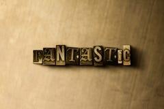 FANTASTYCZNY - zakończenie grungy rocznik typeset słowo na metalu tle Fotografia Royalty Free