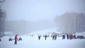Fantastyczny zima krajobraz overcast dramatyczny niebo zbiory wideo