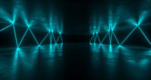 fantastyka naukowa Grunge Futurystyczny pokój Z Chaotycznym Odbijającym Błękitnym Neonowym L royalty ilustracja