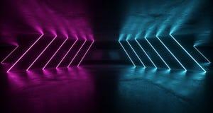 fantastyka naukowa Grunge Futurystyczny pokój Z Purpurowymi I Błękitnymi Neonowymi światłami W royalty ilustracja
