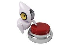 Fantastyka naukowa śliczny robot i czerwony guzik Zdjęcie Royalty Free