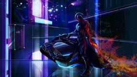 Fantastyka naukowa neonowy wojownik na rowerze