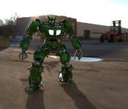 Fantastyka naukowa ?o?nierza mech pozycja na krajobrazowym tle Militarny futurystyczny robot z zieleni? i szaro?? barwimy metal M ilustracji