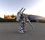 Fantastyka naukowa ?o?nierza mech pozycja na krajobrazowym tle Militarny futurystyczny robot z zieleni? i szaro?? barwimy metal M ilustracja wektor