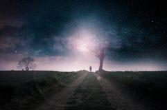 Fantastyka naukowa pojęcie Tajemnicza kapturzasta postać sylwetkowa przeciw jaskrawemu światłu nieżywym drzewem na kraj ścieżce z royalty ilustracja