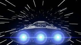 Fantastyka naukowa statek kosmiczny z tętniącymi silnikami skacze w hyperspace, 3d animacja royalty ilustracja