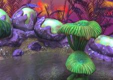 Fantasy湖用绿色蘑菇、奇怪的植物和鸡蛋 库存例证