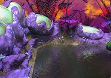 Fantasy由奇怪的植物和鸡蛋的湖周围 向量例证