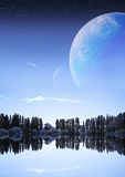 Fantastic night landscape with planets stock photography