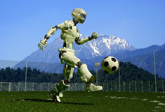 Fantasy. A mechanical robot ran on the green grass Stock Photo