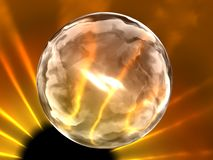 Fantasy. 3d transparent glass sphere on background of sun eclipse Royalty Free Stock Images