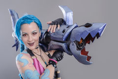Fantasy Action Hero. Jinx the loose cannon league of legends Stock Images