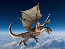Fantasy Action Woman Flying Dragon stock images