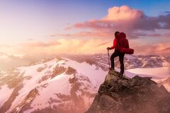 Free Fantasy Adventure Composite With A Girl On Top Of A Mountain Royalty Free Stock Photo - 206089235