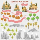 Fairy tale fantasy map builder set of Everwinter Realm and City states in colorfule vector illustrations royalty free illustration