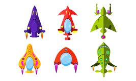 Fantasy aircrafts set, colorful airplanes, spaceships, assets for user interface GUI for mobile apps or video games. Vector Illustration isolated on a white stock illustration