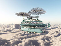 Fantasy airship above the clouds Royalty Free Stock Photo