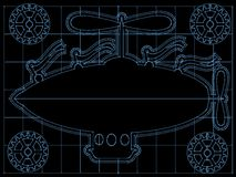 Fantasy Airship Blueprint Gears, Flags outline on Royalty Free Stock Photos
