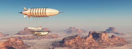 Fantasy airship over a desert Royalty Free Stock Photo