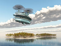 Fantasy airship over an ocean landscape Royalty Free Stock Photo