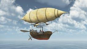 Fantasy airship over the sea Stock Image
