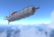 Fantasy Airship Zeppelin Dirigible Balloon 3D illustration. 3D illustration Fantasy airship Zeppelin Dirigible balloon Stock Photo