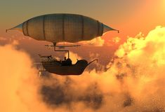 Fantasy Airship Zeppelin Dirigible Balloon 3D illustration. 3D illustration Fantasy airship Zeppelin Dirigible balloon Royalty Free Stock Photography