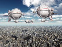 Fantasy airships over a megacity Stock Photos