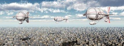 Fantasy airships over a megacity Stock Images
