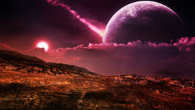Fantasy Alien Landscape. Mystical fantasy landscape. Desert environment with purple sun and giant moon on the sky Royalty Free Stock Images