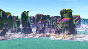 Fantasy alien planet. 3D rendering Royalty Free Stock Photos