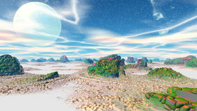 Fantasy alien planet. 3D rendering Stock Photography