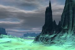Alien Planet. Mountain. 3D rendering Royalty Free Stock Photo