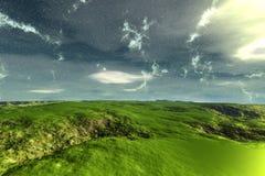 Alien Planet. Mountain. 3D rendering. Fantasy alien planet. Mountain. 3D illustration Stock Images