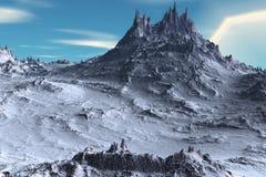 Alien Planet. Mountain. 3D rendering. Fantasy alien planet. Mountain. 3D illustration Stock Photo