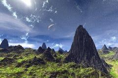 Alien Planet. Mountain. 3D rendering. Fantasy alien planet. Mountain. 3D illustration Royalty Free Stock Photos