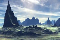 Alien Planet. Mountain. 3D rendering. Fantasy alien planet. Mountain. 3D illustration Stock Image