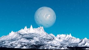 Alien Planet. Mountain. 3D rendering. Fantasy alien planet. Mountain. 3D illustration Royalty Free Stock Photos