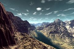 Alien Planet. Mountain and  water. 3D rendering Stock Photography